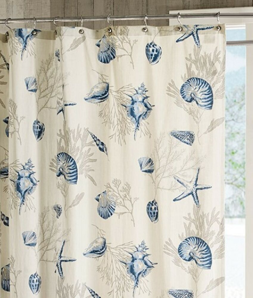 BLUE SEASHELLS SHOWER CURTAIN : SEA SHELL CORAL STARFISH
