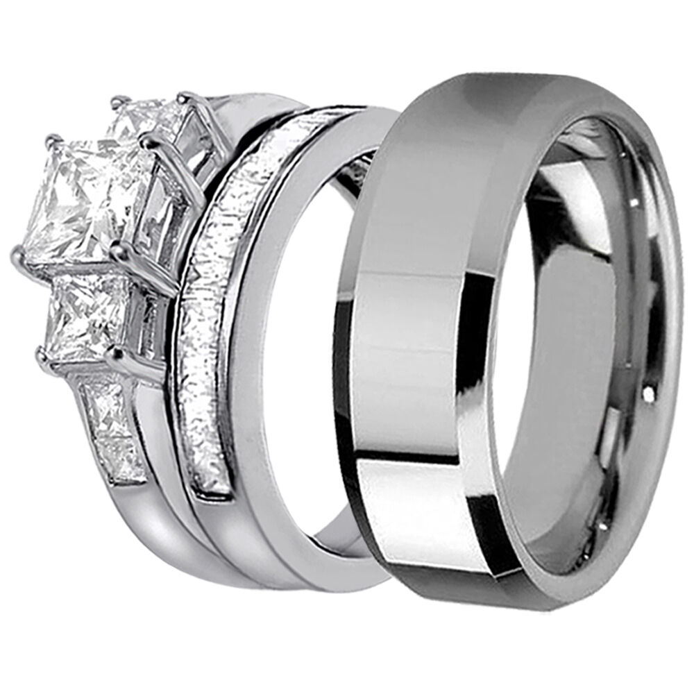 Stainless Steel Wedding Rings: Hers Bridal Sterling Silver His Stainless Steel Engagement