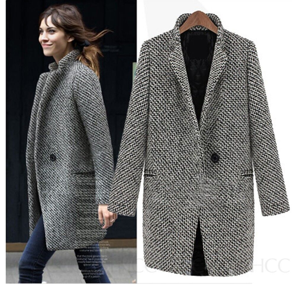 Warm Coats Womens Tweed Trench Jacket Wool Coat Vintage Peacoat ...