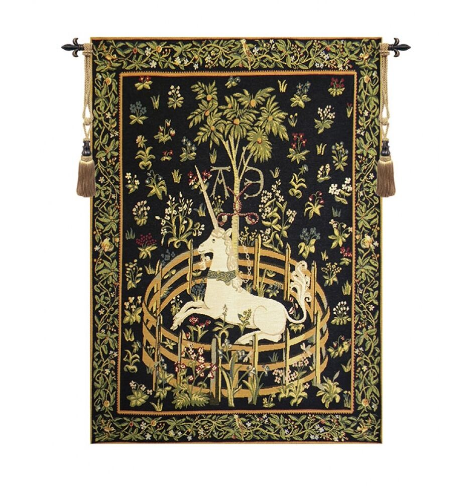 Medieval Tapestry Wall Hanging Unicorn In Captivity 25 X18
