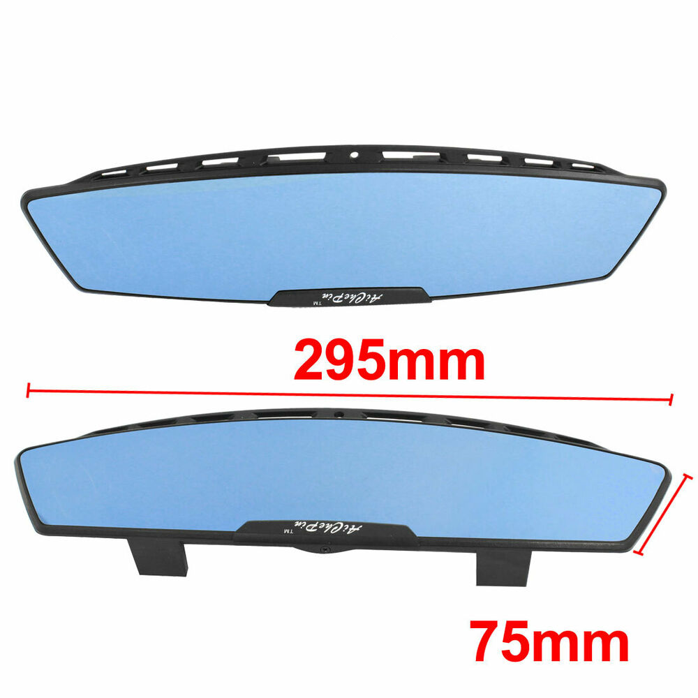 300mm jdm wide curve clip on auto car interior rear view mirror black ebay. Black Bedroom Furniture Sets. Home Design Ideas