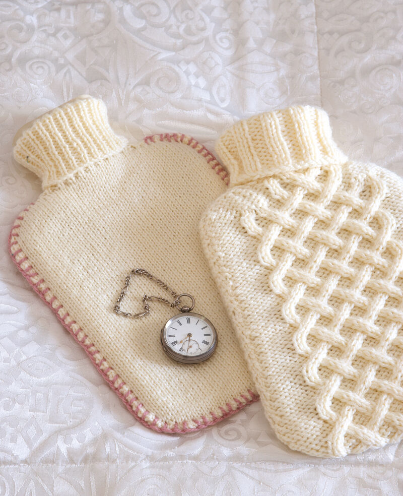 Easy Hot Water Bottle Knitting Pattern : Aran & Stocking Stitch Hot Water Bottle Covers ~ Knitting Pattern eBay