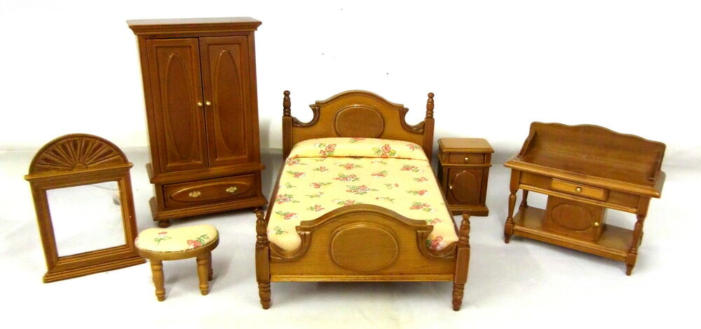Dolls House Miniature Cottage Bedroom Furniture Set Wooden