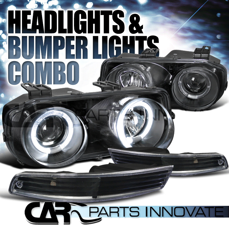 Acura Integra Headlights: 1994-1997 Acura Integra Black Halo Projector Headlights