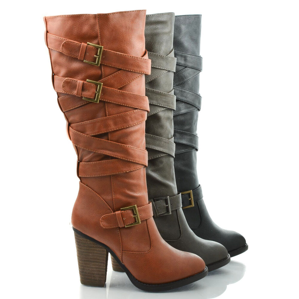 Mentor Knee High Belted Harness Equestrian Riding Boots On