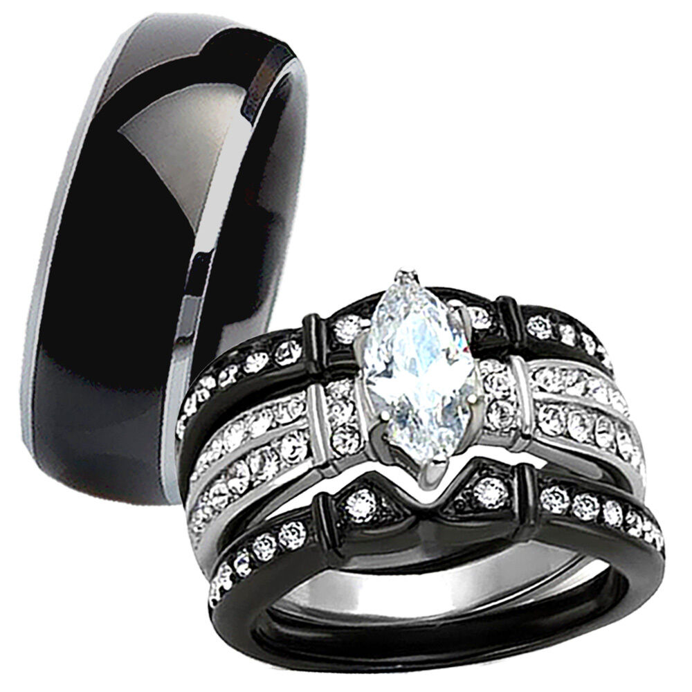 Wedding Bands For Her: Hot 4 Pc His Tungsten Her Black Stainless Steel Wedding