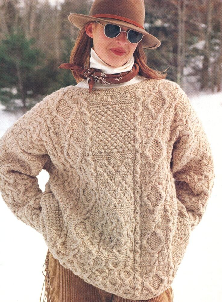 Knitting Pattern Aran Jumper : Aran Patchwork Sampler Sweater ~ S/M/L ~ Knitting Pattern eBay