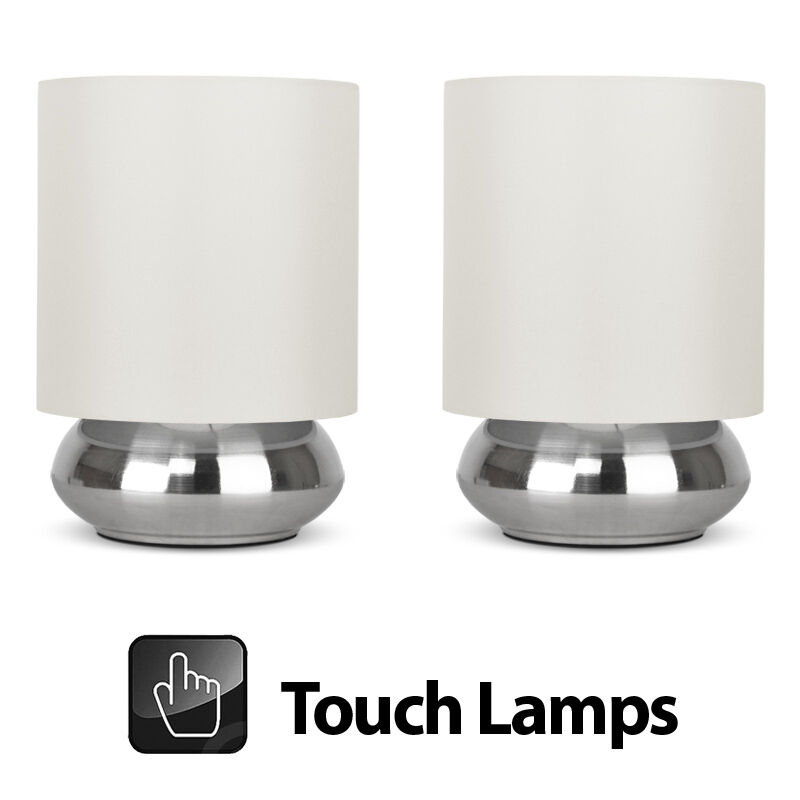 Pair Of Modern Brushed Chrome Cream Touch Dimmer Bedside Table Lights Lamps Ebay