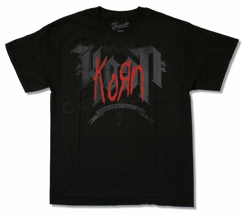 Korn bakersfield black t shirt new official adult T shirt outlet bakersfield ca
