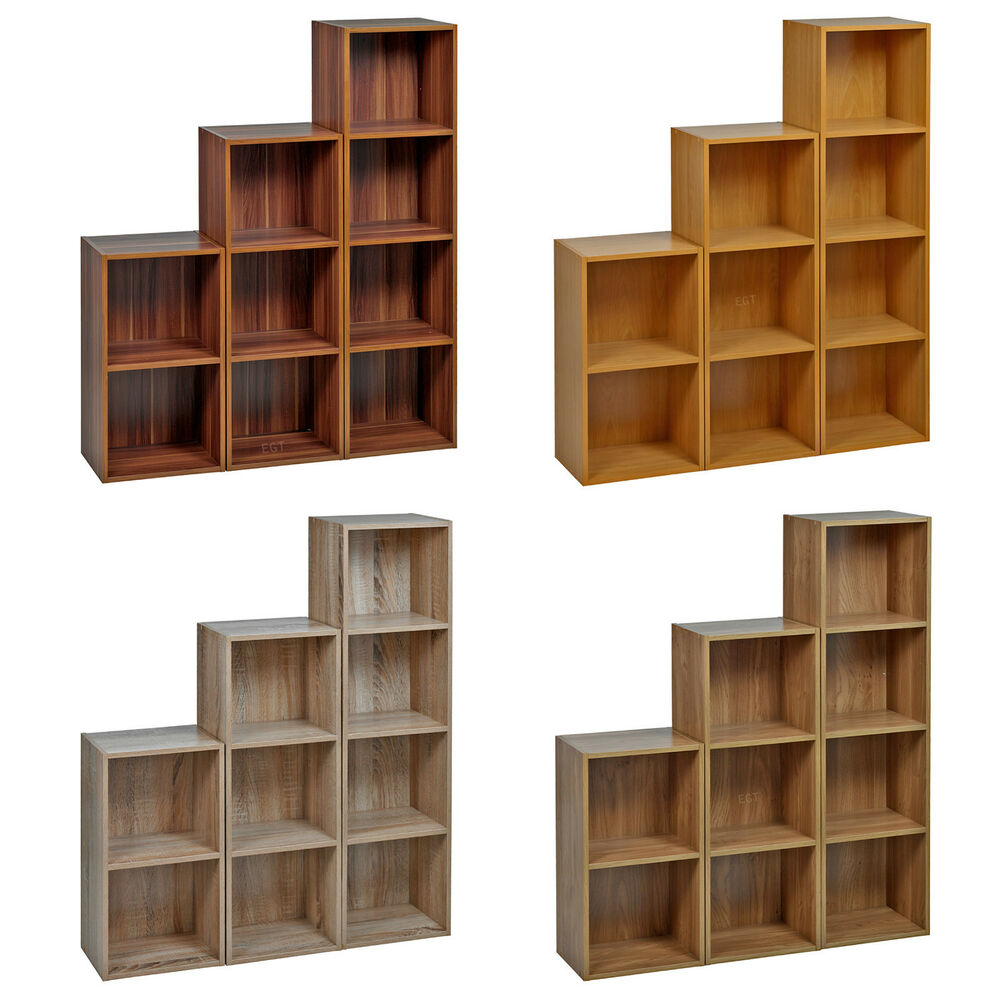 Tiered Display Shelves ~ Tier wooden bookcase shelving display storage