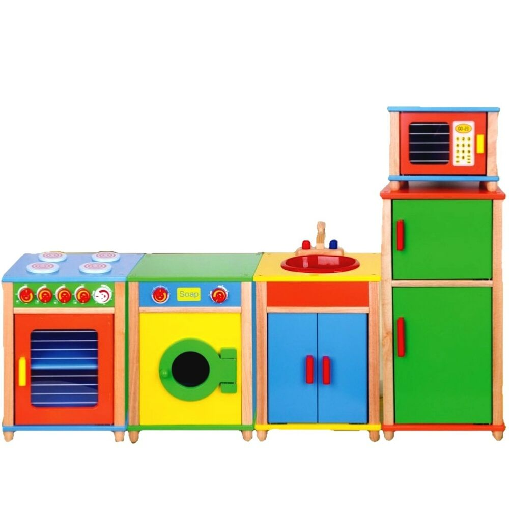 Children 39 s kitchen wood set play wooden toy natural ebay for Cuisine wooden