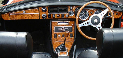 mgb gt 1970 1974 walnut wood dash trim kit ebay. Black Bedroom Furniture Sets. Home Design Ideas