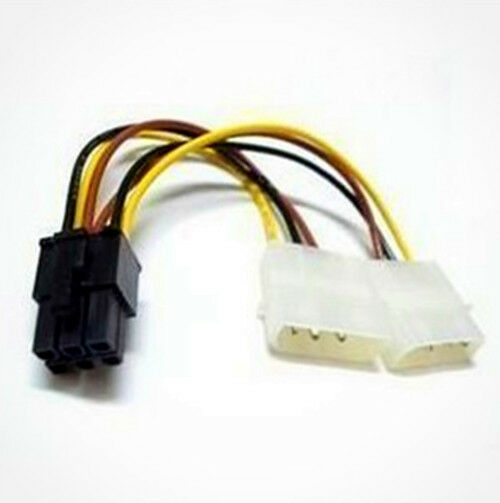 atx ide molex power dual 4 to 6 pin pci express pcie card adapter cable ebay