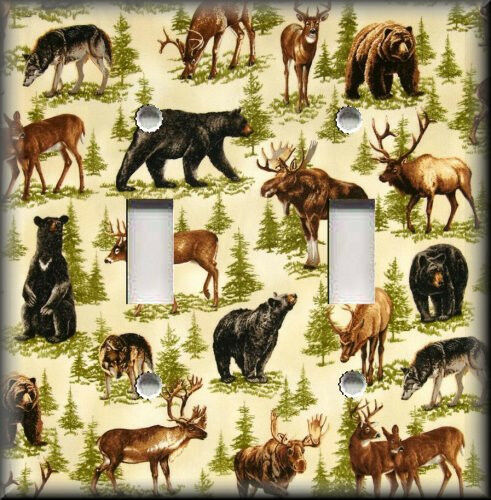 Light switch plate cover bear wolf moose deer cabin for Rustic bear home decor