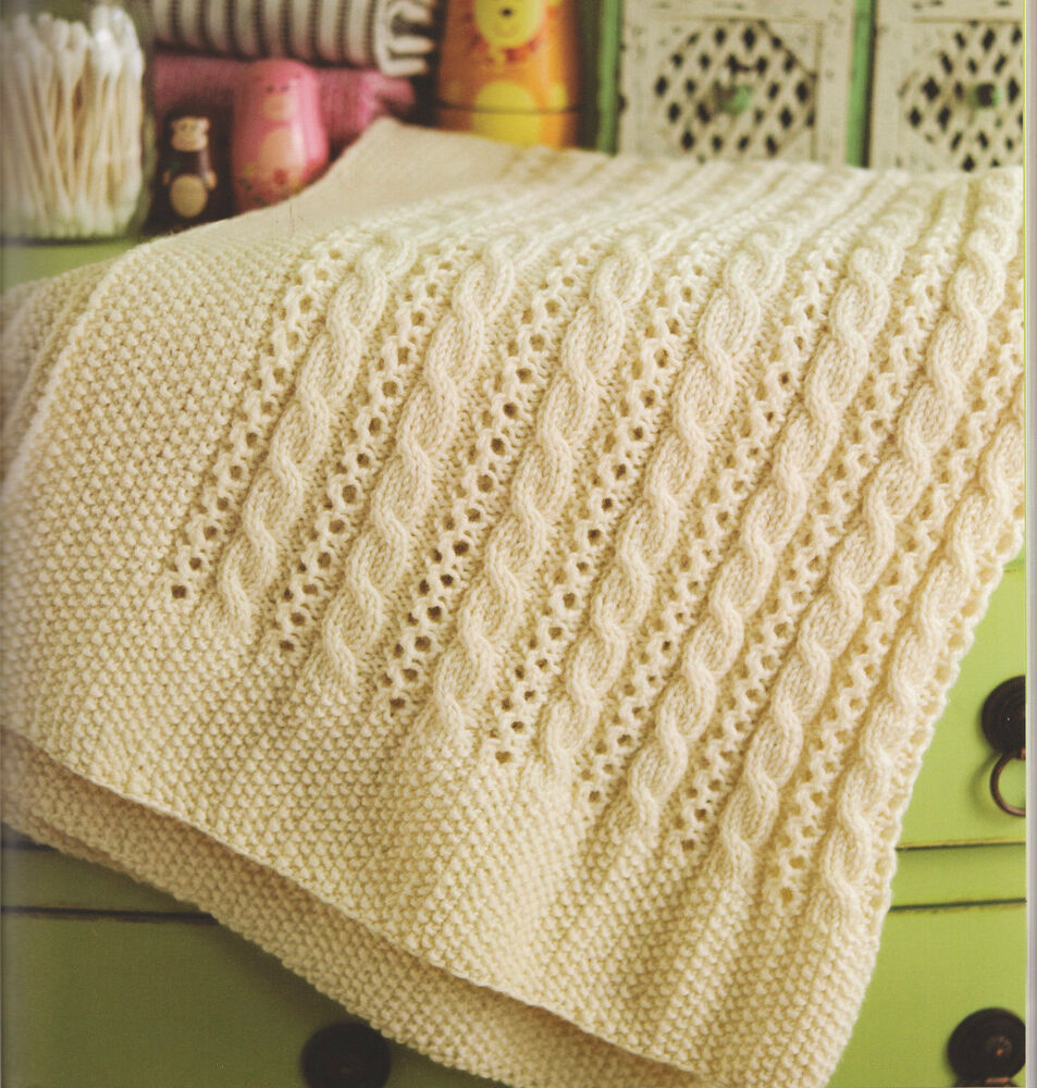 Knitting Pattern For Baby Blanket With Cable : Cable & Lace Baby Blanket ~ Pram or Cot Size ~ Aran Wool Knitting Pattern...
