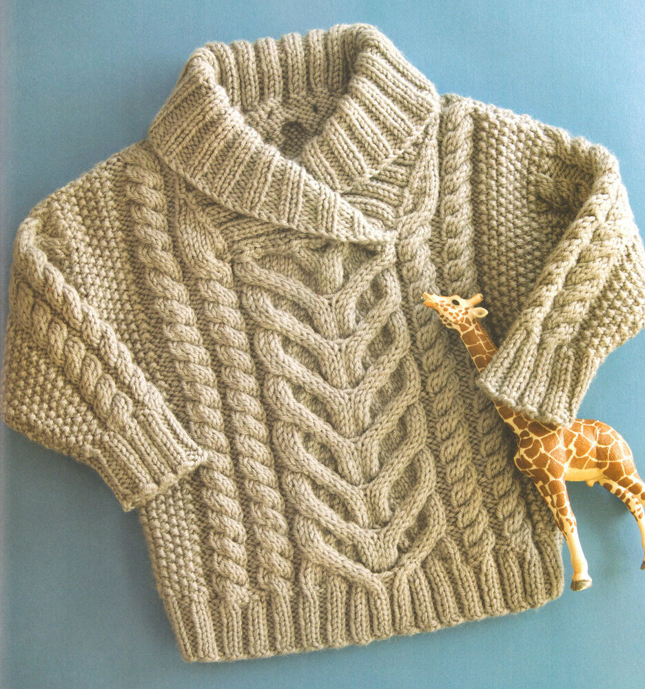 Knitting Pattern Aran Wool : Little Baby Aran Cable & Shawl Collar 22