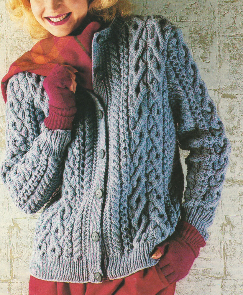 Knitting Pattern Raglan Cardigan : Richly Cabled Round Neck Raglan Aran Jacket/Cardigan 32