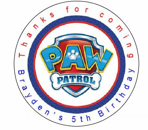 24 paw patrol shield birthday favor label stickers personalized for