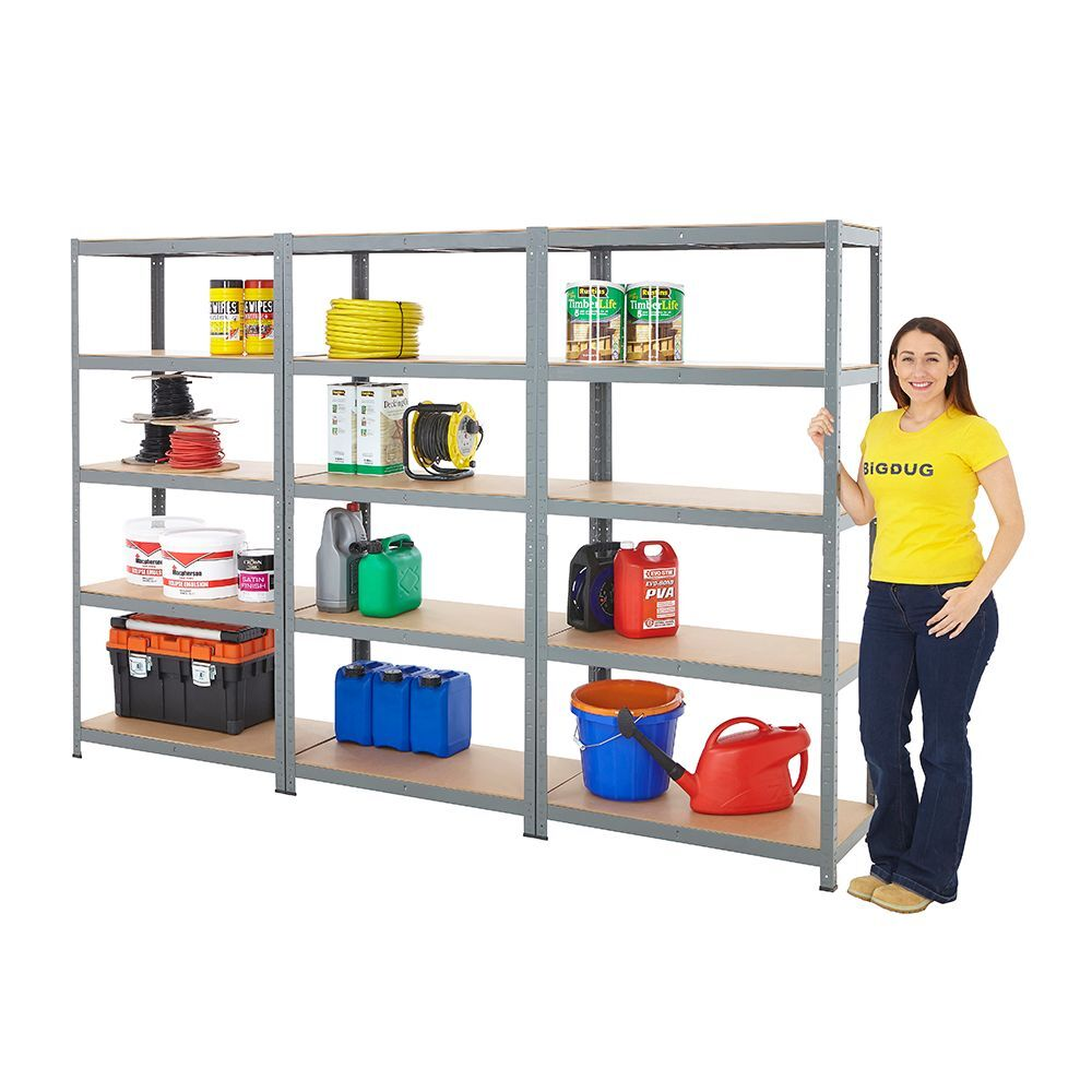 3 bay shelving garage racking 5 tier 175kg udl storage for Storage bay