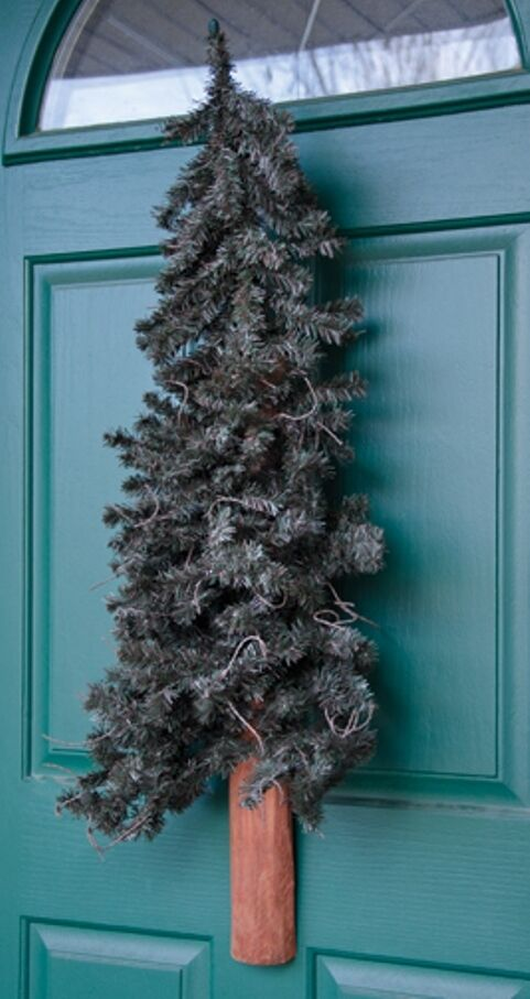 Rustic alpine half wall door christmas tree 3 ft accent artifical