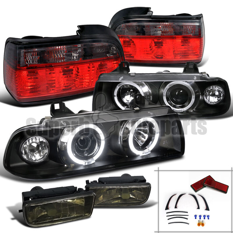 92 98 Bmw E36 2d Halo Projector Headlights Black Fog Lamps Tail Lights Red Smoke Ebay