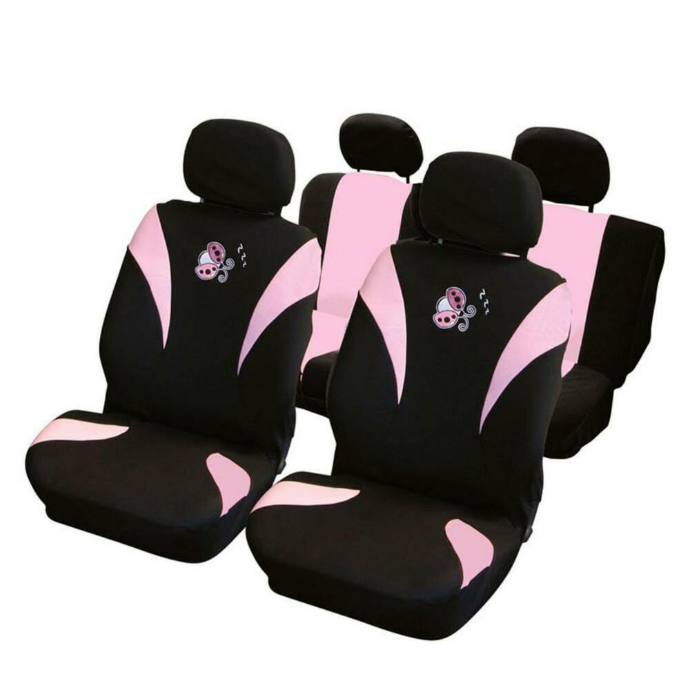 universal car seat cover set pink lady bird velour washable airbag compatible ebay. Black Bedroom Furniture Sets. Home Design Ideas
