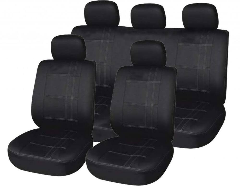 universal car seat cover set black pin strip airbag compatible washable ebay. Black Bedroom Furniture Sets. Home Design Ideas