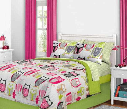 nature hoot owl girls twin single comforter set 6 piece bed in a bag ebay. Black Bedroom Furniture Sets. Home Design Ideas