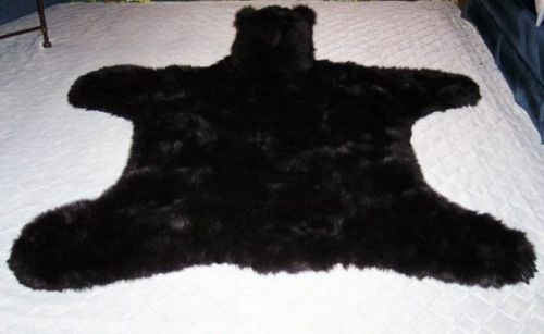 lg faux fur black bear rug replica mount no taxidermy fake bear skin rug ebay. Black Bedroom Furniture Sets. Home Design Ideas