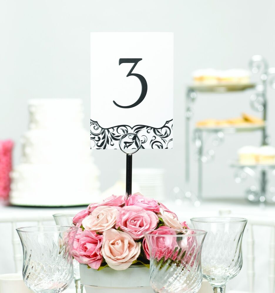 1 40 Black and White Flourish Wedding Table Number Cards