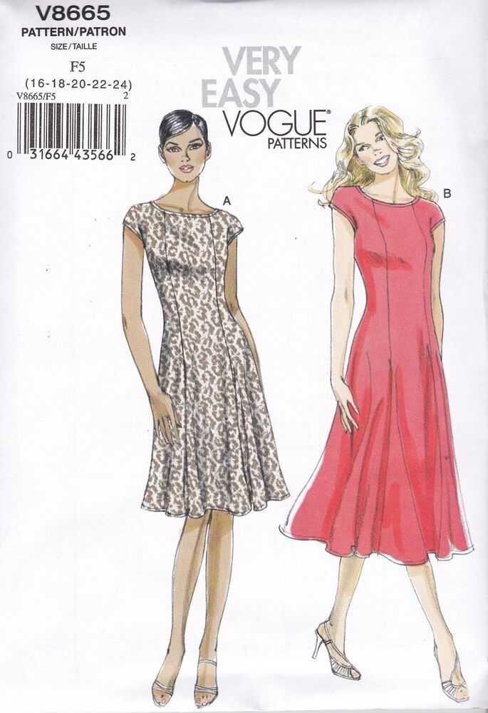 vogue sewing pattern misses 39 very easy flared dress size 8. Black Bedroom Furniture Sets. Home Design Ideas