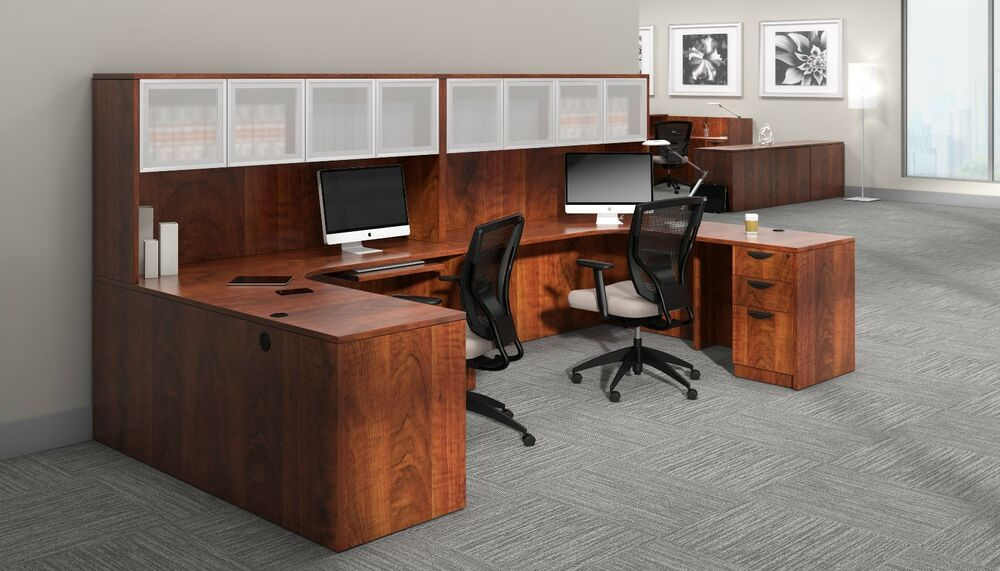 2 Person Contemporary Laminate Workstation Office Desk In