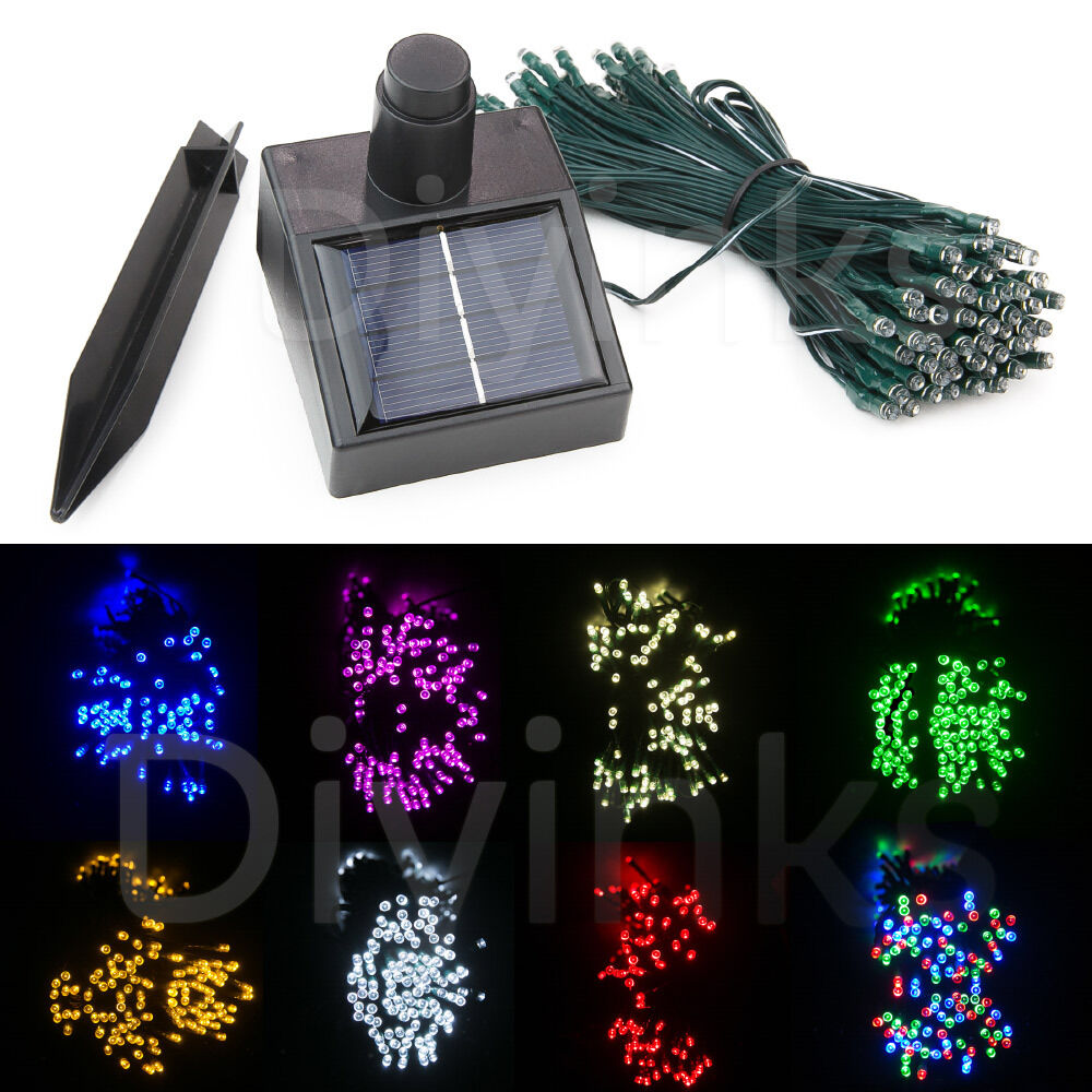 60 100 led 8 color solar string light christmas xmas wedding tree party ebay. Black Bedroom Furniture Sets. Home Design Ideas