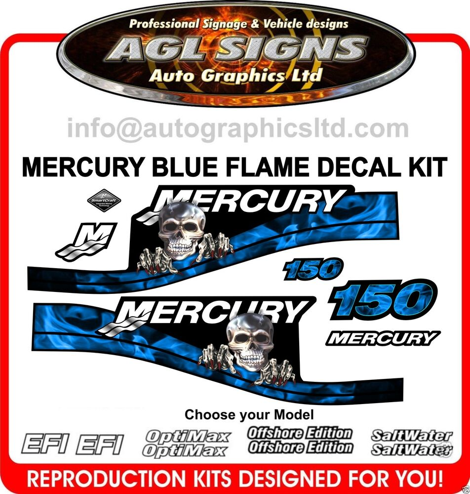 Mercury 150 blue flame outboard decals 200 175 225 250 efi for Custom outboard motor decals