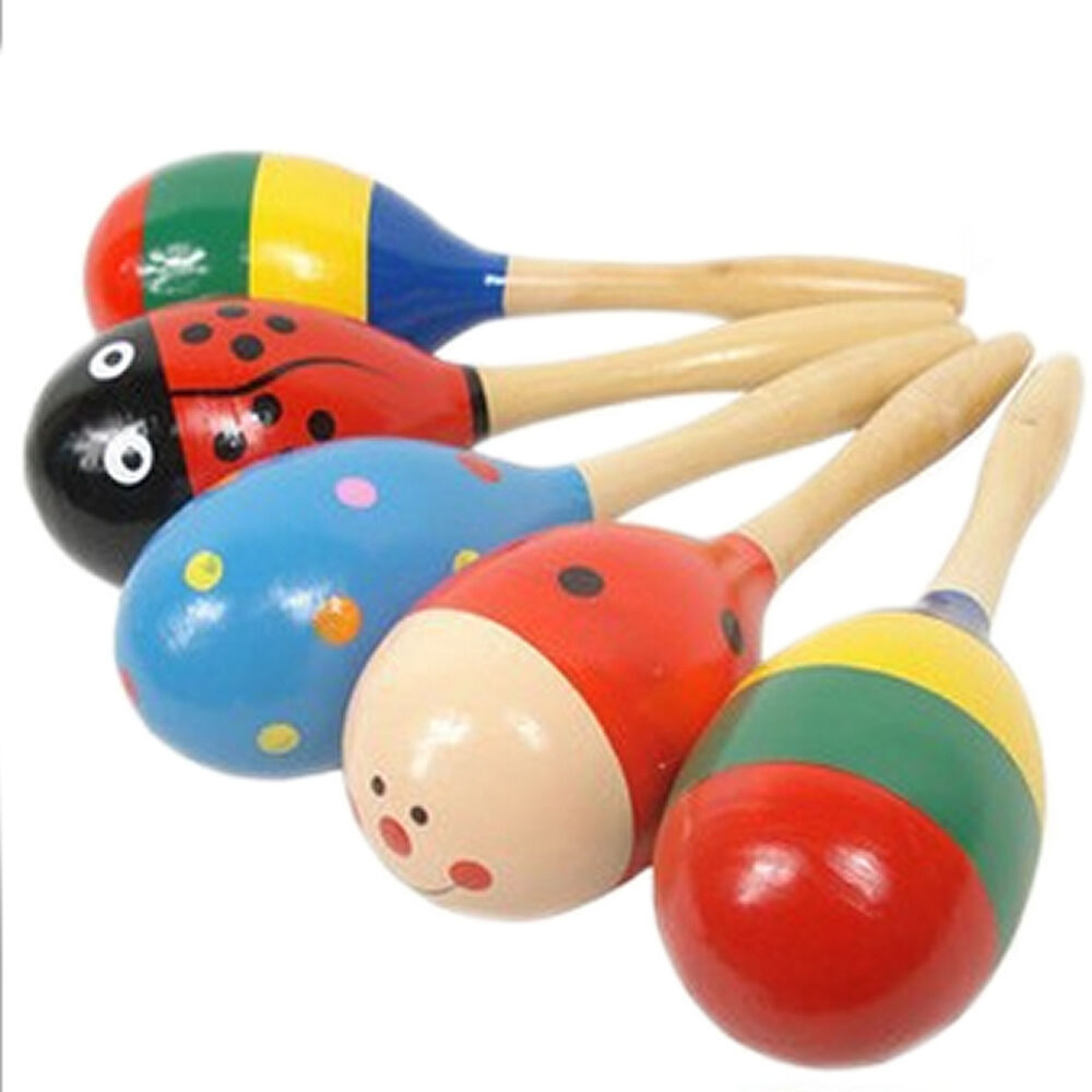 Wooden Musical Toys : Wooden colored sand hammer kids wood musical development
