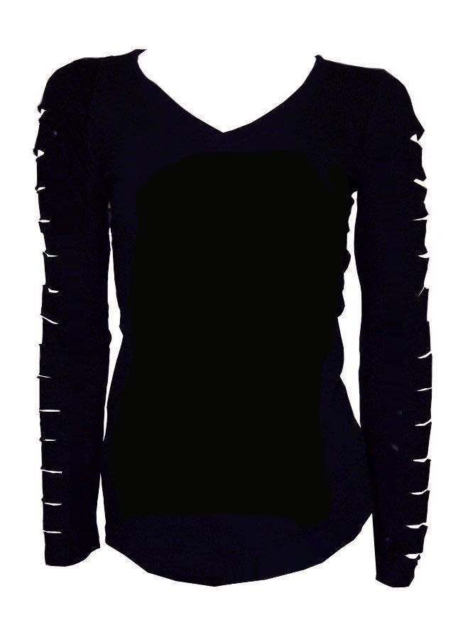 Cute Cut Out Ripped Arms Long Sleeve Shirt Stretch Black S