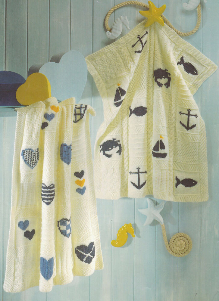 Hearts Nautical Seaside Boat Anchor Fish Baby Blankets DK Knitting ...
