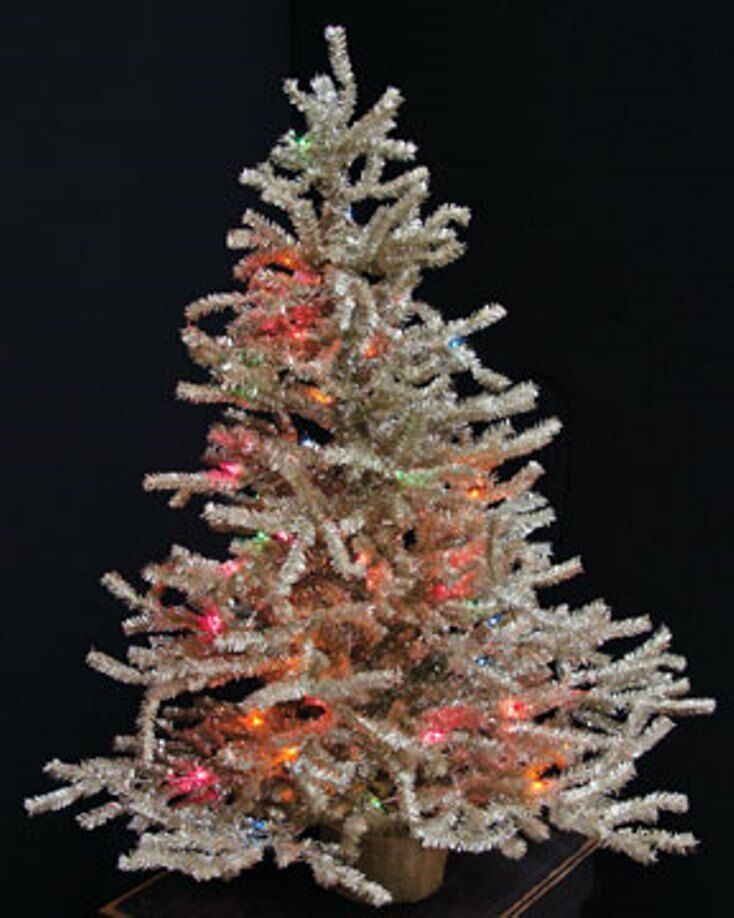 PRE-LIT SILVER CHRISTMAS TREE TABLE TOP FAUX PINE TREE ...