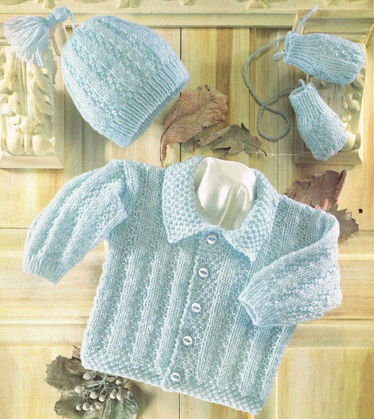Baby Jacket with Collar Hat & Mittens 16