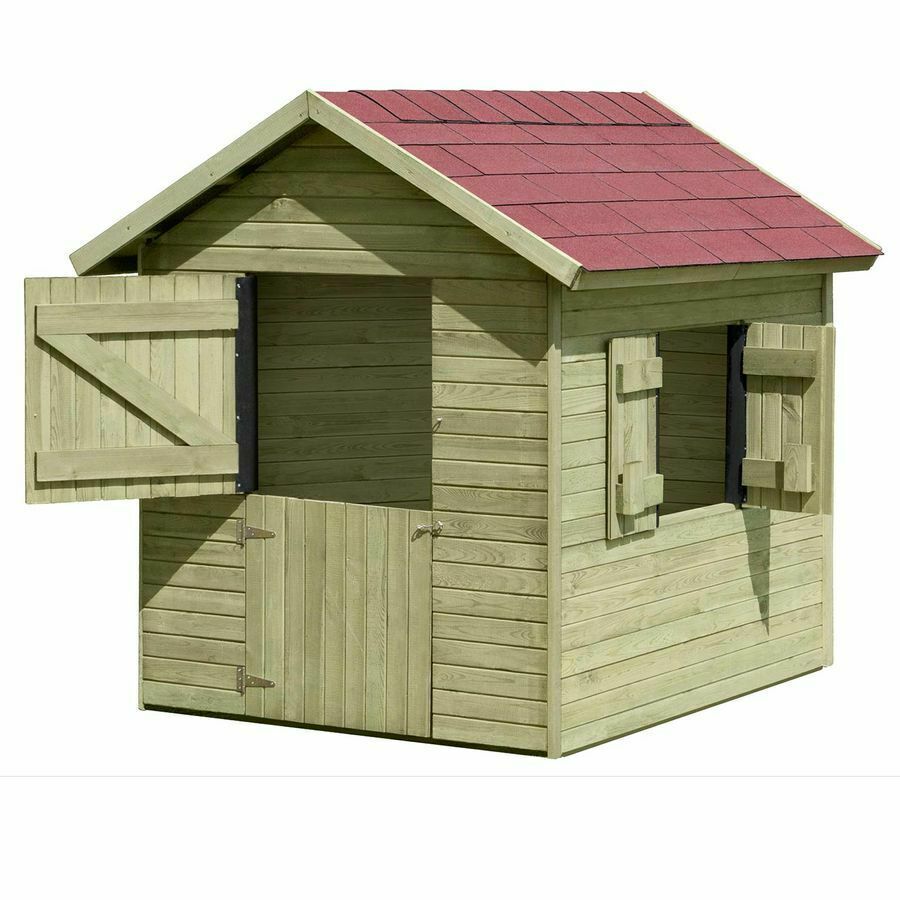 spielhaus marie aus holz 1 5x1 2 m holzhaus kdi gartenhaus f r kinder im garten ebay. Black Bedroom Furniture Sets. Home Design Ideas