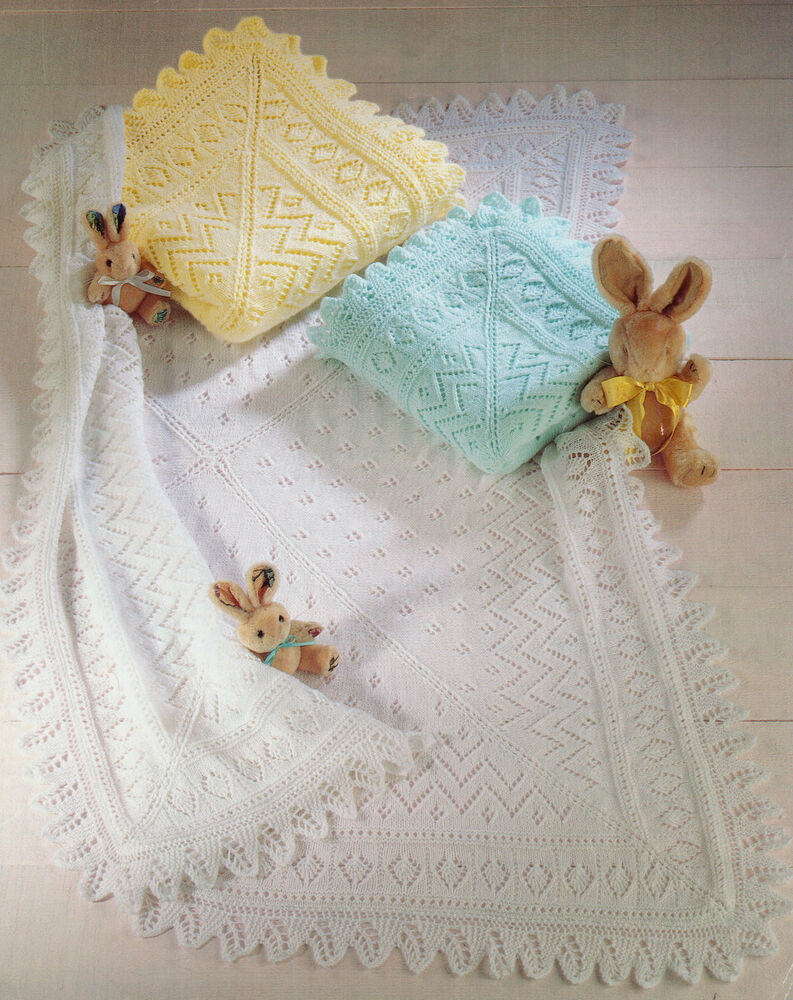 Knitting Pattern For Baby Shawl Blanket : Lacy Baby Shawl/ Blanket Knit in 3 Ply 4 Ply or DK ...