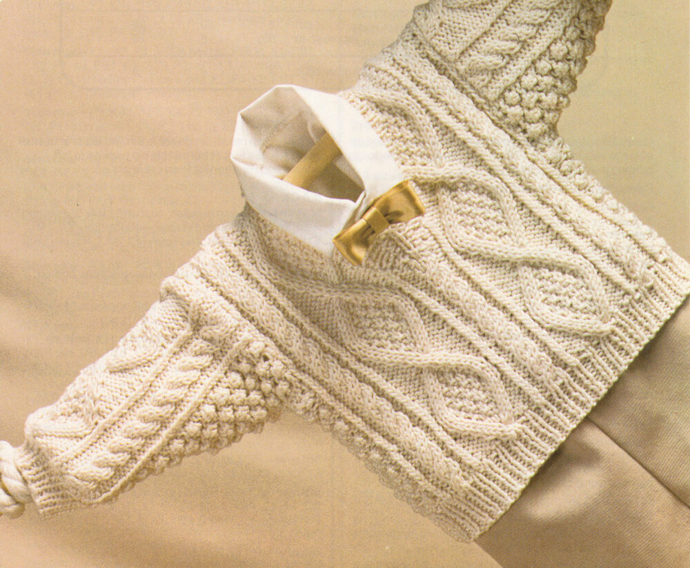 Knitting Patterns For Baby Aran : Baby Aran Style Cable V Neck Sweater 18