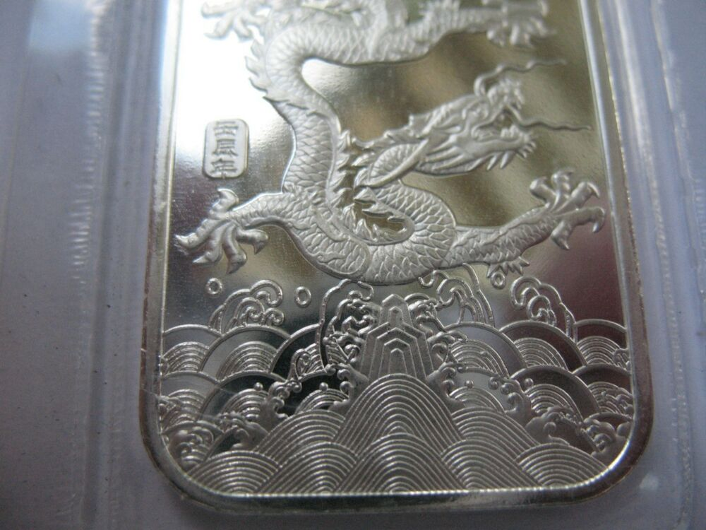 1 Oz 999 Pure Silver China Year Of The Dragon Bullion Bar