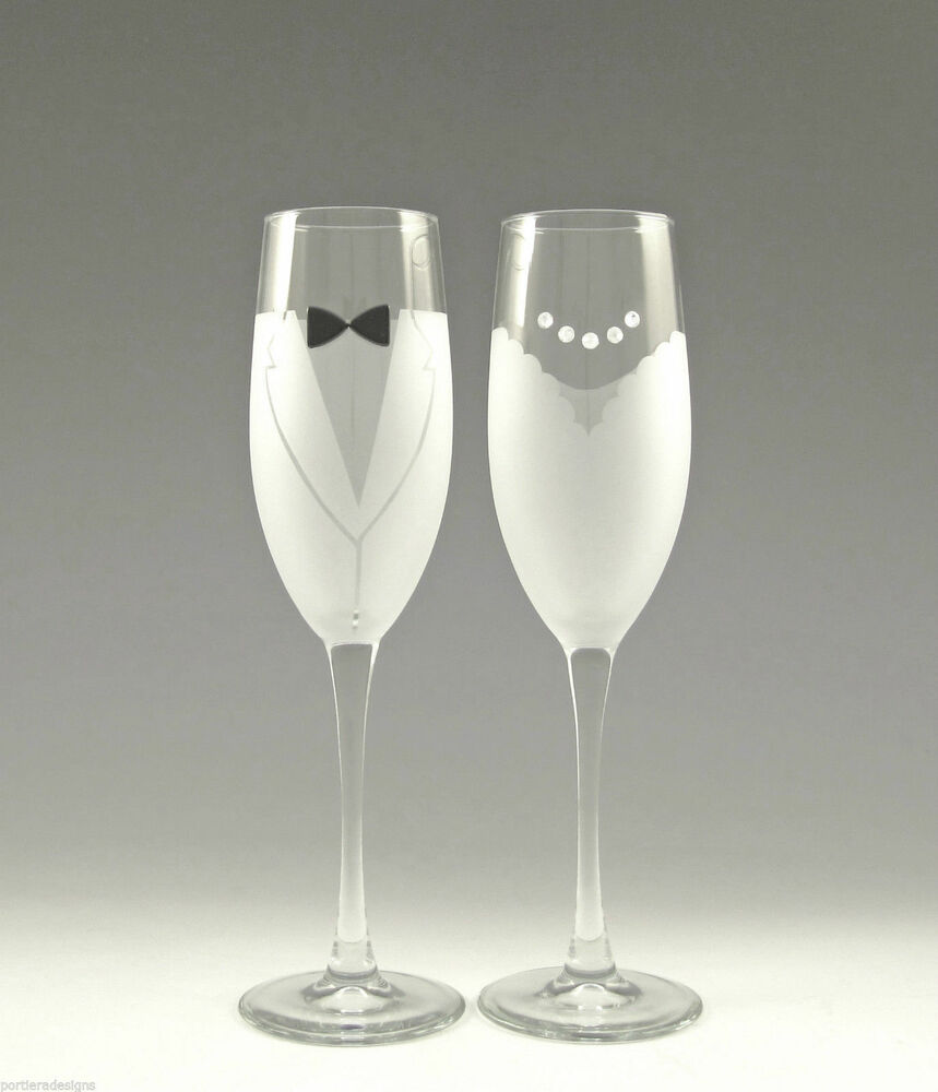 Asta hand etched bride groom champagne glass wedding for Wedding champagne flutes