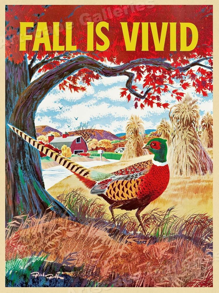 posters_Fall is Vivid - 1960s Vintage Travel Poster - 18x24 | eBay