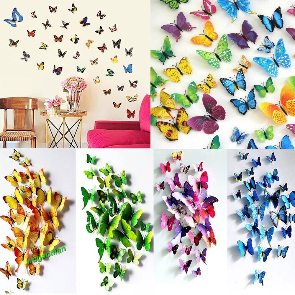 12pcs 3d pvc butterflies diy butterfly art decal home for Butterfly wall mural stickers