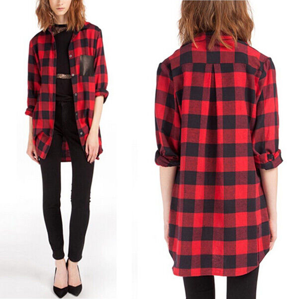 Women scottish tartan plaid top red black check lapel Womens red tartan plaid shirt