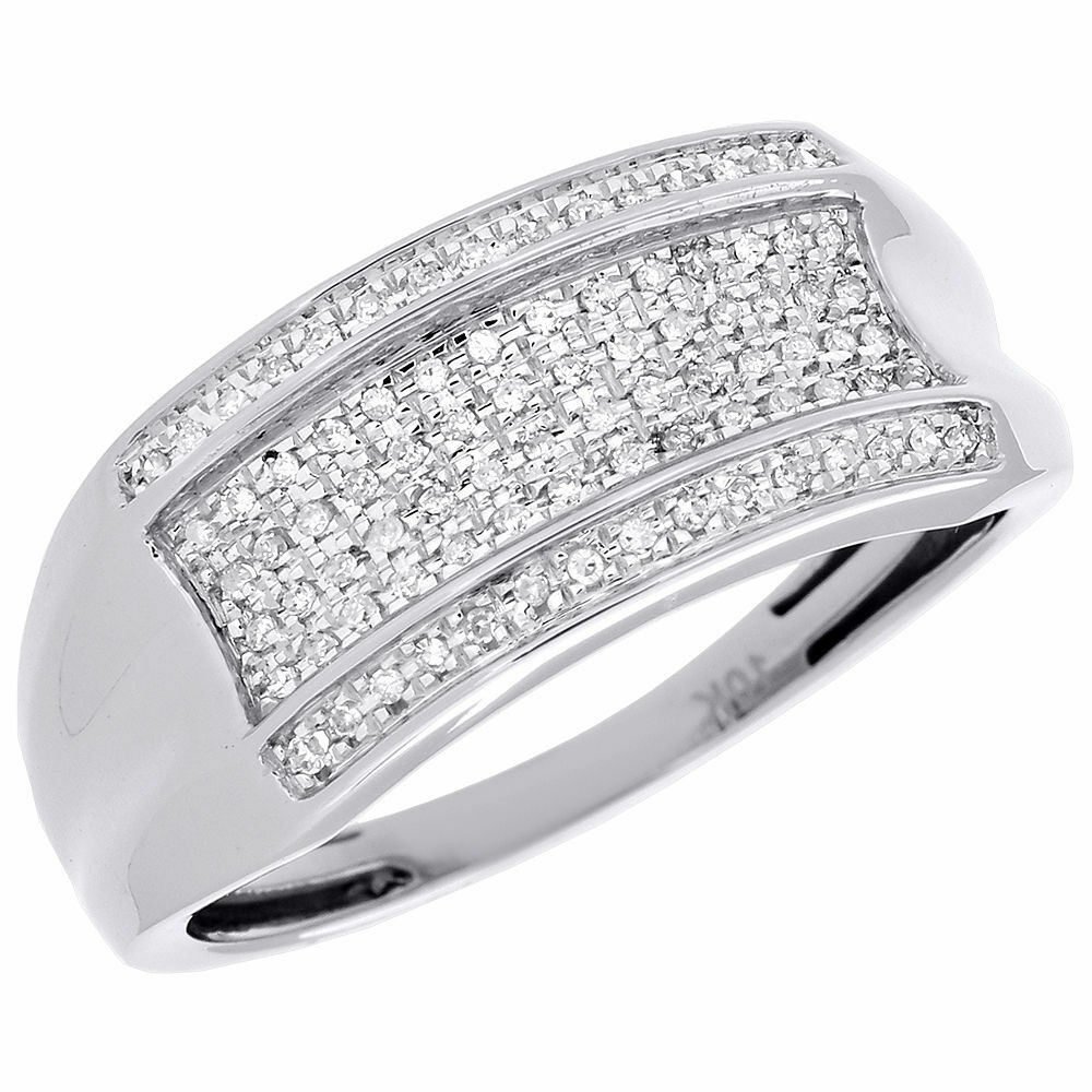 Pave Diamond Wedding Band Mens 10K White Gold Round Cut Engagement Ring 0 14