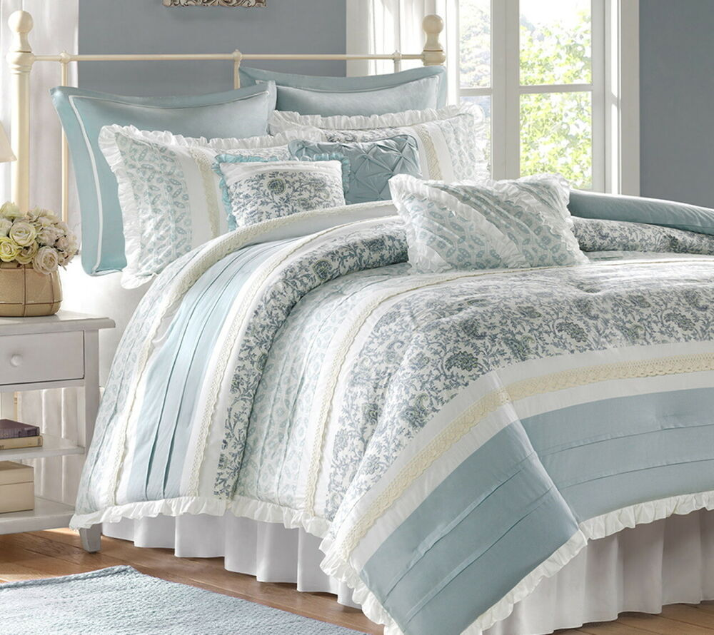 chic blue lace 9pc king comforter set french cottage shabby paisley bedding ebay. Black Bedroom Furniture Sets. Home Design Ideas