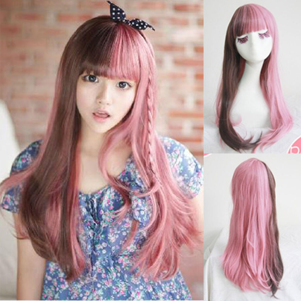 New Fashion Lolita Brown Pink Mix Curly Wavy Long Hair Wig